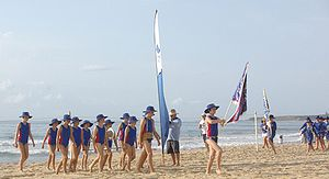 Sports carnival - Nippers marching at a surf carnival.