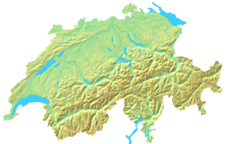 Outline of Switzerland - An enlargeable topographic map of Switzerland