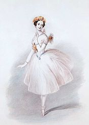 Sketch of a female ballet dancer posing en pointe in a mid-length, white dress; her hair and bodice are covered in orange flowers