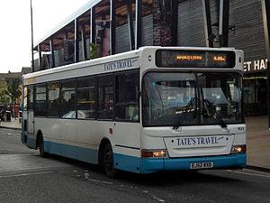 Tates Travel - Plaxton Pointer 2-bodied Dennis Dart SLF in Barnsley in October 2013