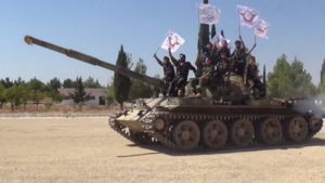 Al-Tawhid Brigade - A T-62 main battle tank operated by the Tawhid Brigade in Tell Rifaat, September 2013.