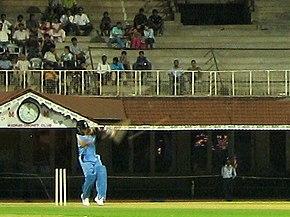 Tendulkar hitting a six off Sri Sreesanth
