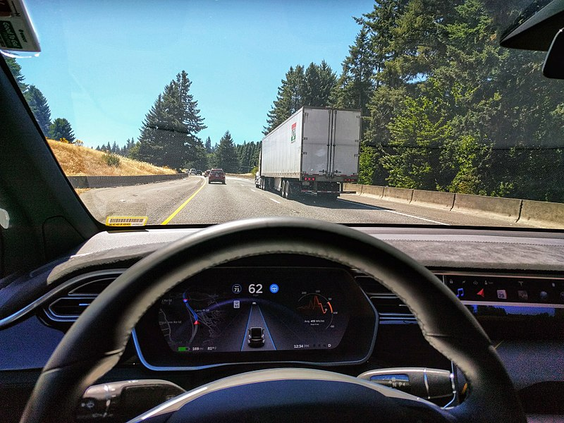 File:Tesla Autopilot Engaged in Model X.jpg Description English: Driving in traffic with Tesla's autopilot controlling distance from the lead car and centering the vehicle in the lane. Vehicle is a 2017 Model X 75D with dark interior. Date29 July 2017, 12:34:27 SourceOwn work AuthorIan Maddox