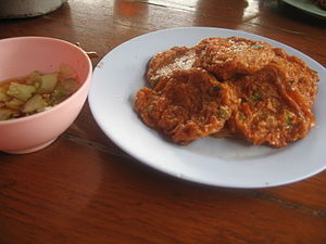 Tod man pla krai with dipping sauce