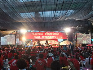 United Front for Democracy Against Dictatorship - UDD assembly, Chit Lom Station, Bangkok.