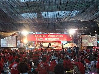 United Front for Democracy Against Dictatorship - UDD assembly, Chit Lom Station, Bangkok.