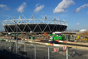 English: The 2012 Olympics stadium under const...