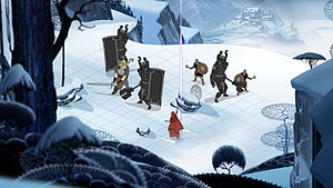 The Banner Saga - A development screenshot of the game's turn-based combat component