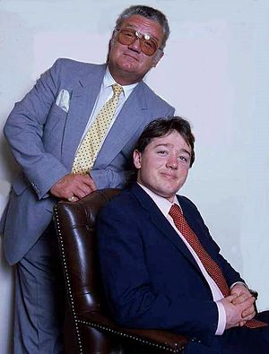 Angus Montagu, 12th Duke of Manchester - The Duke of Manchester together with his younger son, Lord Kimble Montagu. Photo: Allan Warren (1993)