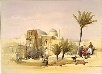 1842 lithograph based on artwork by David Roberts, in The Holy Land, Syria, Idumea, Arabia, Egypt, and Nubia The Holy Sepulchre by Louis Haghe.jpg