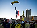 The Leap Frogs perform a parachute demonstration during Navy Week Mobile, Alabama. (32708694290).jpg