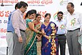 The MLA, Badhrachalam, Smt. Kunja Satyavathi lighting the lamp to inaugurate the Bharat Nirman Public Information Campaign at Bhadrachalam, in Khammam District, Andhra Pradesh on December 14, 2013.jpg