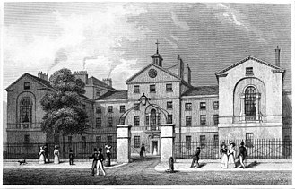 Middlesex Hospital - Engraving of Middlesex Hospital seen from the south in 1830