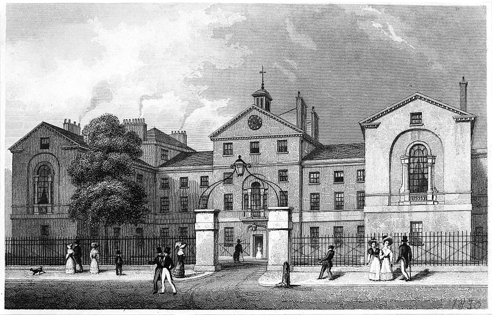 The Middlesex Hospital; seen from the south. Engraving by J. Wellcome M0003347