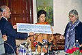 The Minister of State (IC) for Urban Employment & Poverty Alleviation, Kumari Selja receiving a dividend cheque of Rs. 102 crore from the CMD of HUDCO, Dr. Prem Singh Rana in New Delhi on December 28, 2004.jpg