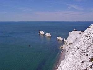 The Needles - The Needles – View from the viewpoint near the former experimental rocket launching station