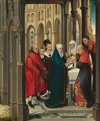 Donor portrait - Presentation of Christ, ca 1470.  Standing alongside the Holy Family, the two fashionably dressed girls, and probably the young man on the right, are donor portraits.