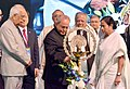 The President, Shri Pranab Mukherjee lighting the lamp to inaugurate the Bengal Global Business Summit, in Kolkata.jpg