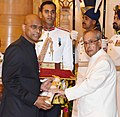 The President, Shri Pranab Mukherjee presenting the Padma Shri Award to Dr. Alla Gopala Krishna Gokhale, at a Civil Investiture Ceremony, at Rashtrapati Bhavan, in New Delhi on March 28, 2016.jpg