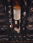 The S-II second stage is moved into position for mating with the S-IC first stage.jpg