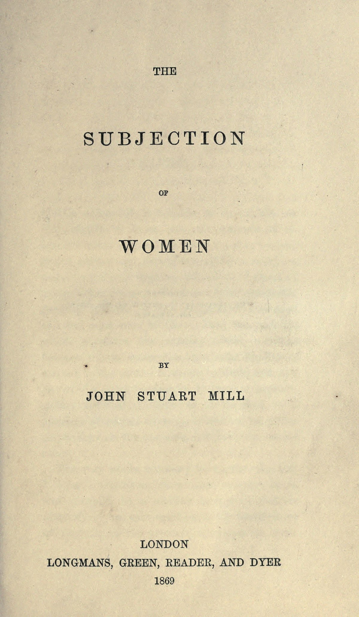The Subjection of Women Summary