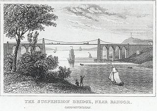 The Suspension Bridge: near Bangor, Caernarvonshire