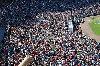 Tomahawk chop - Atlanta Braves fans doing the tomahawk chop