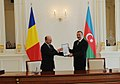 The ceremony of presenting decorations of highest orders took place between the Presidents of Azerbaijan and Romania 2.jpg