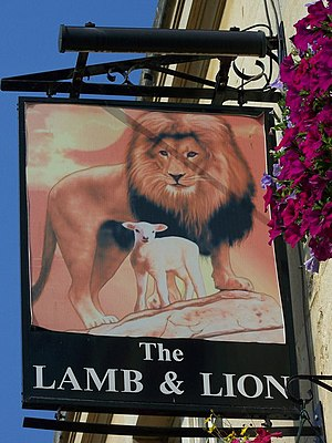 The lamb and lion - The lamb and the lion as they appear on an establishment's signboard in Bath, England