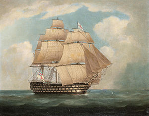 Thomas Buttersworth - H.M.S. 'Victory' in full sail and in a squall (1).jpg