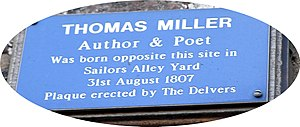 Thomas Miller (poet) - plaque at 58 Bridge Street, Gainsborough, opposite Thomas Miller's birthplace at Sailors Alley Yard (which no longer exists)