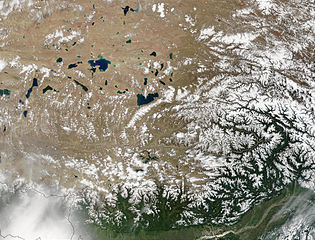 NASA satellite image of the south-eastern area of Tibetan Plateau. Brahmaputra River is in the lower right.