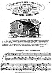 "The first page of sheet music for a song, ""Tippecanoe and Tyler Toe"" with an depiction of a log cabin with Harrison outside"