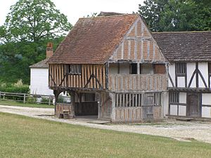 Market house - Market hall of the 1620s originally from Titchfield, Hampshire, England, now re-erected at the Weald and Downland Open Air Museum, Sussex