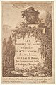 Title page- a wall in center surrounded by ruins and poplar trees, surmounted by a vase decorated with the head of a satyr, from 'Les soirées de Rome' MET DP829186.jpg