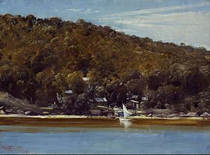 Curlew Camp - Curlew Camp, Sirius Cove, painted by Roberts in 1899, shows the camp from the opposite shore of Curraghbeena Point.