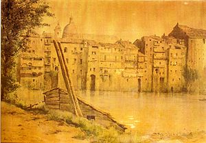 Tor di Nona - Houses in Tor di Nona c. 1880, watercolour by Ettore Roesler Franz