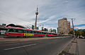 Toronto streetcars and the CN Tower.jpg