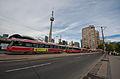 Toronto streetcars and the CN Tower.jpg