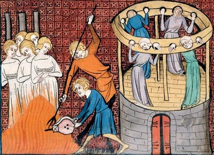 Burning witches, with others held in Stocks, 14th century Torturing and execution of witches in medieval miniature.jpg
