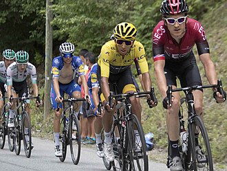 2018 Tour winner Geraint Thomas leading Team Ineos teammate and eventual 2019 Tour winner Egan Bernal on the penultimate stage Tour de France 2019, group of favourites (48416905411).jpg