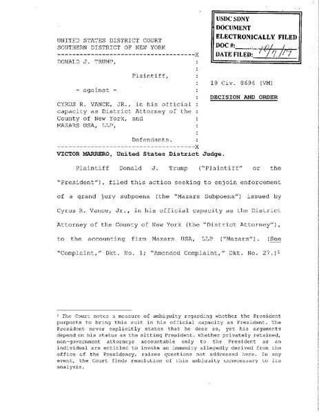 File:Trump v. Vance Jr. ruling October 7, 2019 by Judge Marrero.pdf