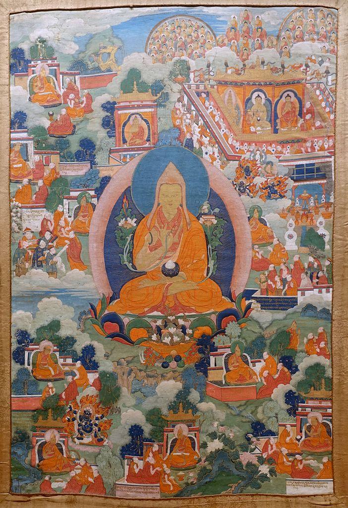 Thangka depicting Tsongkhapa's life