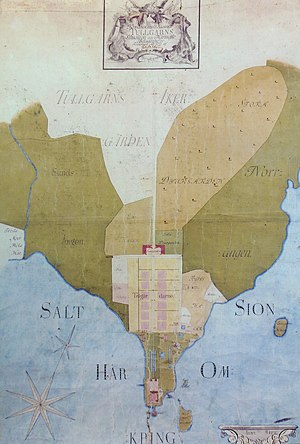 Tullgarn Palace - A map of the palace and its surroundings, dated 1773