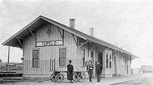 Tupelo, Mississippi - Railroad depot, circa 1900