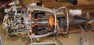 Turbomeca Marboré - Sectioned Marboré II on display at the Aviation Museum of Central Finland