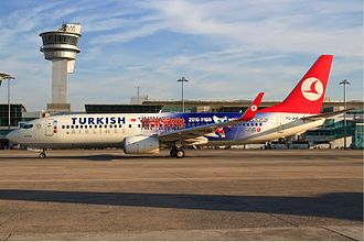 2010 FIBA World Championship - A Turkish Airlines Boeing 737-800 with the livery of the 2010 FIBA World Championship at the Atatürk International Airport in Istanbul. The company was among the official sponsors of the tournament.