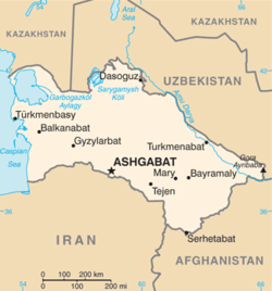 Location of Ashgabat in Turkmenistan