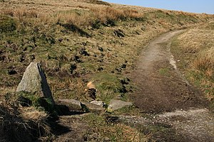 Two Moors Way - The Two Moors Way at the point at which the path leaves, or joins, the Redlake Tramway track