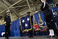 U.S. Navy Adm. Cecil Haney, left, watches as his general officer flag is unfurled during a change of command ceremony for U.S. Strategic Command at Offutt Air Force Base, Neb., Nov. 15, 2013 131115-D-BW835-959.jpg